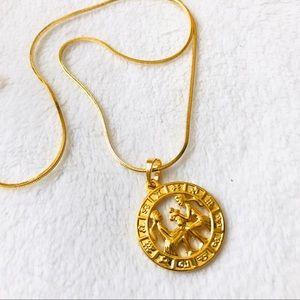 Jewelry - 18k Gold fill Chain zodiac Gemini pendant necklace